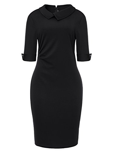Women's One Piece Dress Bow Cocktail Business Dress 3/4 Sleeve Pencil Dress Black XX-Large (Sale Women On Under $20 Dresses)