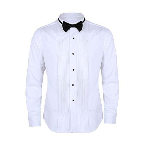 ACSUSS Men's Bow Tie Wingtip Collar Long Sleeve Tuxedo Dress Shirt with French Cuffs White Large