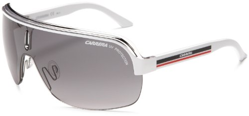 Carrera Topcar 1  Unisex Shield Sunglasses,White Crystal Black Frame/Grey Gradient Lens,one - Frames Carrera Sunglass