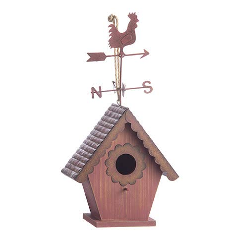 Darice Red Birdhouse with Rooster Weathervane: Hanging or Tabletop, 7 x 14 inches