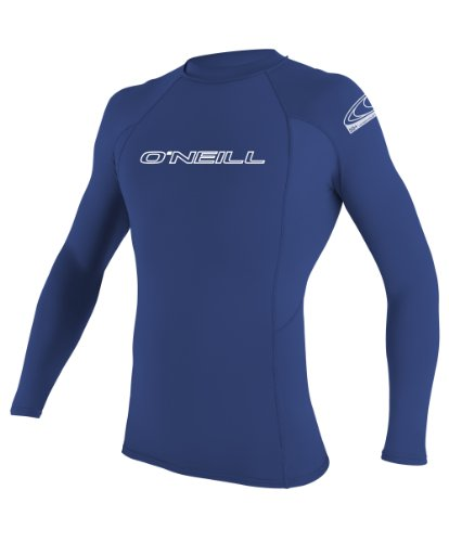 O'Neill Men's Basic Skins UPF 50+ Long Sleeve Rash Guard, Pacific, Medium