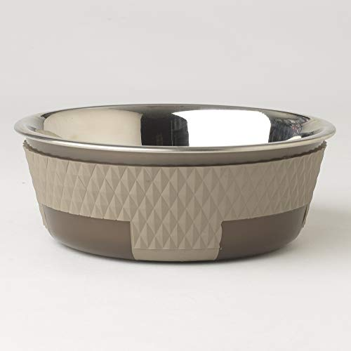 PetRageous Kona Non-Skid Stainless-Steel Bowl, Taupe, 3.75 Cup/6.75