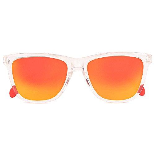CORAL Sunglasses - BEQUEVÉ - Gafas de sol con acabado transparente y lentes espejo revo naranja polarizadas.: Amazon.es: Ropa y accesorios