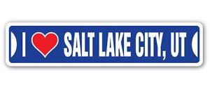 (I LOVE SALT LAKE CITY, UTAH Custom Sticker Decal Wall Window Door Art Vinyl Street Signs - 22