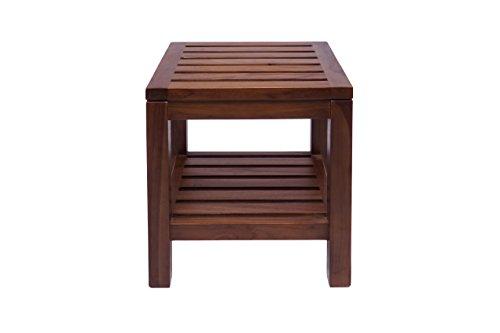 Square Teak Bench - Small Square Bench, Teak Wood (Brown)