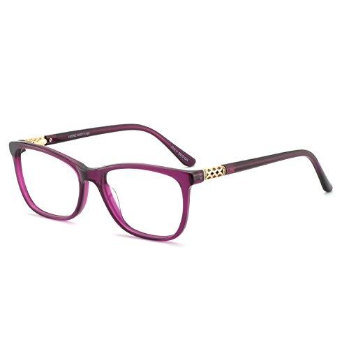 OCCI CHIARI Shining Fashion Acetate Optical Frame Non-Prescription Clear Eyeglasses (A-Purple(Anti Blue Light))