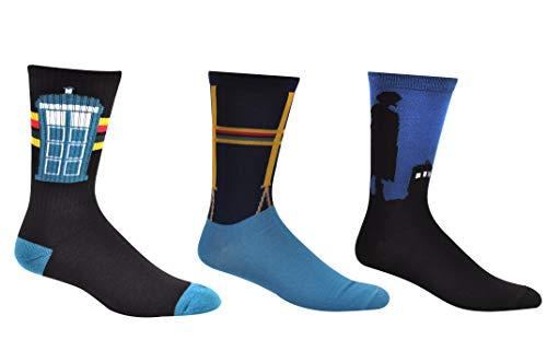 Doctor Who 13th Doctor Socks Merchandise (3 Pair) - (1 Size) 13th Dr Who Tardis Cosplay Crew Socks Women & Men's -