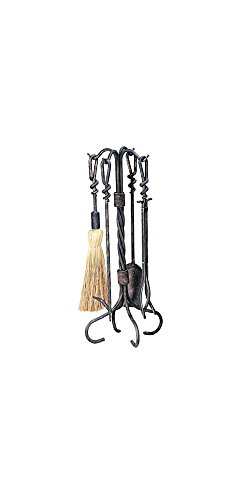 Uniflame, F-1695, 5pc Antique Copper Wrought Iron Fireset With Ring/Swirl Handles (Fireplace Tools Uniflame)