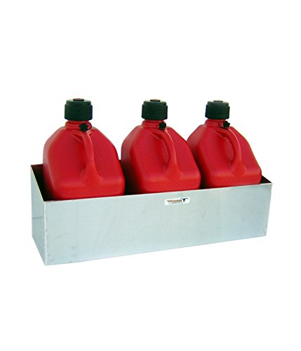 Pit Posse 436BK Triple Fuel Jug Rack Holder 3 Mount Aluminum Enclosed Race Trailer Shop Garage Storage ()