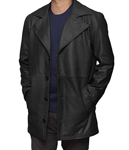 Decrum Black Mens Car Coat - Black Leather Jackets for Men | [1500266] Jackson Carcoat,2XL