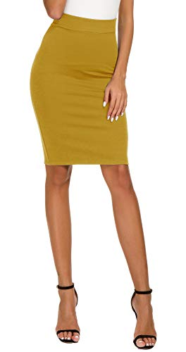 - Women's High Waist Bodycon Midi Pencil Skirt (XL, Turmeric)