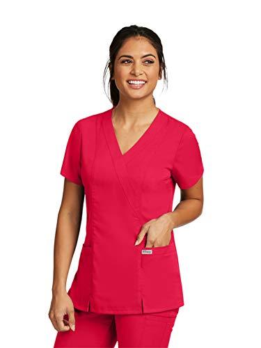 Grey's Anatomy 41101 Mock Wrap Top Scarlet Red 2XL
