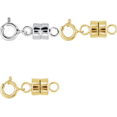 1 - Each New Solid .925 Sterling Silver and 2-14K Yellow Gold Filled Round Magnetic Clasps with Spring Rings for Necklaces, Bracelets, and Anklets - Jewelry By Sweetpea