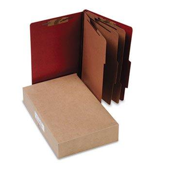Pressboard 25-Pt Classification Folders, Legal, 8-Section, Earth Red, 10/box