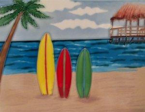 Tabla de surf tablas de surf Wall Art para azulejos de cerámica decorativo 11 x 14