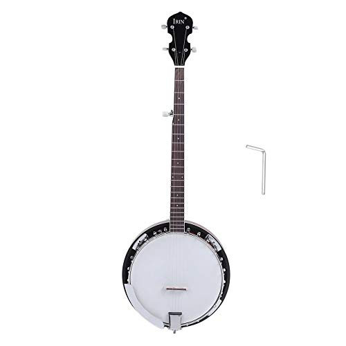 Exiao Five String Banjo, Five String Banjo Nickel Plated Armrest Coated Copper Alloy Round Mahogany Resonator Stringed Musical Instrument