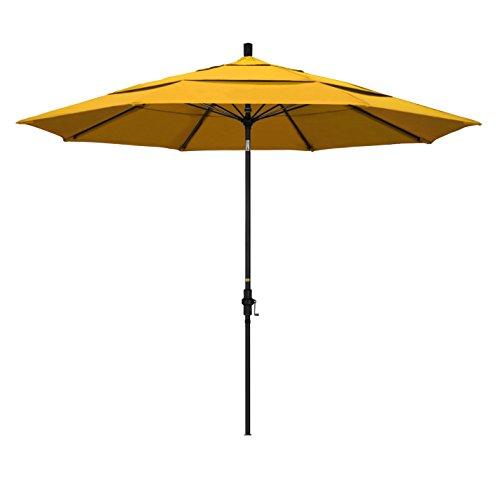 31aC6I5QKhL - California Umbrella 11' Round Aluminum Pole Fiberglass Rib Market Umbrella, Crank Lift, Collar Tilt, Black Pole, Pacifica Yellow