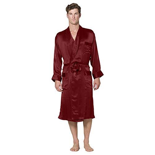 - Intimo Men's Classic Silk Robe, Maroon, Small