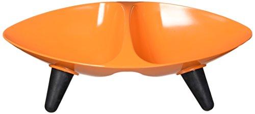 Designer Cat Dish - PET LIFE 'Couture Sculptured' Dishwasher Safe Melamine Fashion Designer Dual Food and Water Pet Cat Dog Bowl Feeder Waterer, One Size, Orange