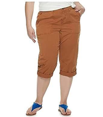 Evri Women's Plus Size All About Comfort Utility Capris (Cinnamon, 20W)