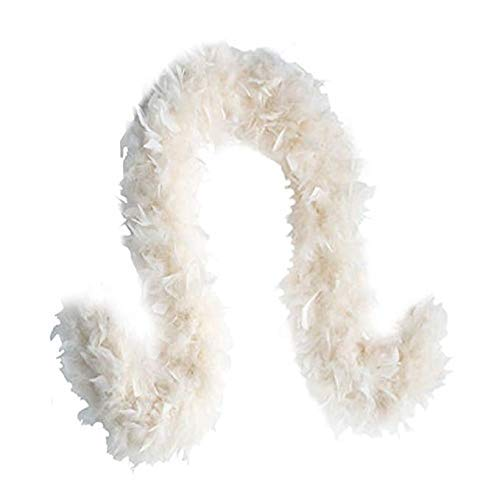 SACAS Fashion 100g Feather Chandelle Boa 6 feet Long in, White, Size one Size