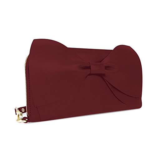 Bow Clutch Bag Wine Clutch Leather Leather Bow IWxRSn56