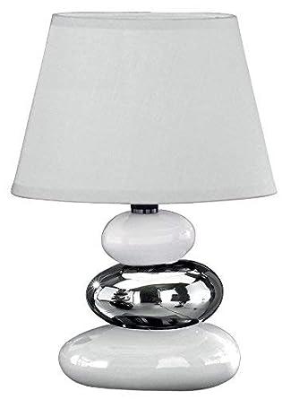 Honsel Leuchten 59511 - Lámpara de mesa de cerámica, color blanco y plateado/pantalla color blanco