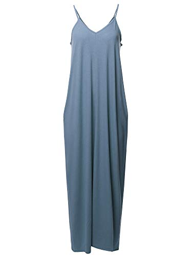 (Casual Premium Adjustable Strap Side Pocket Loose Maxi Dress Dusty Blue 3X)