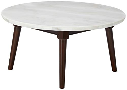 Major-Q 9082890 Round White Marble Top Walnut Finish Living Room Coffee Table