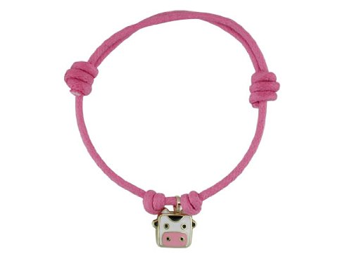 18KT Yellow Gold Pink Bracelet w/ Cow Charm by Amalia Children's Fine Jewelry (Image #1)