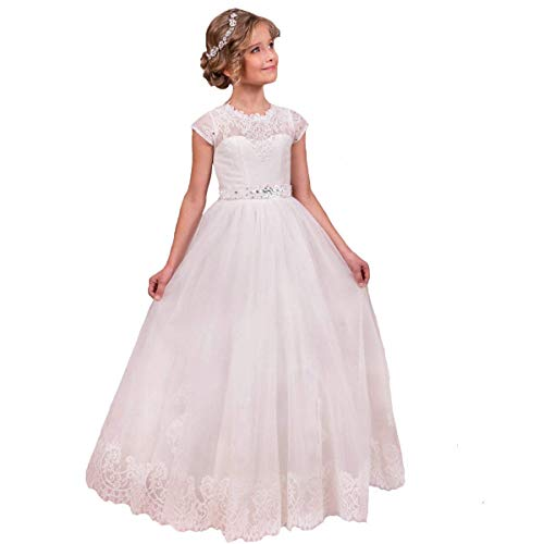 Flower Girls Lace Tulle Gowns First Communion Dresses White-2 Size 2 -