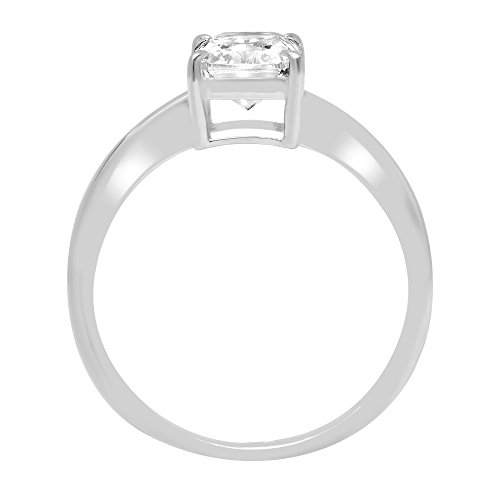 1ct Radiant Brilliant Cut Classic Solitaire Designer Wedding Bridal Statement Anniversary Engagement Promise Ring Solid 14k White Gold, 9 by Clara Pucci (Image #1)