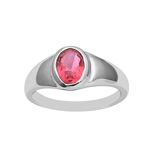 Oval Cut Pink Tourmaline 925 Sterling Silver Women Anniversary Ring (7.5)