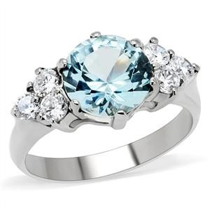 Colored Stone Ring - Eternal Sparkles Women's Stainless Steel Clear Blue Cubic Zirconia Stone High-Polished Ring - Size 8