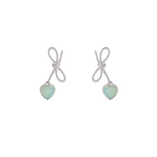 Twisted Ribbon Bow Stud Petite Earrings Heart Dangle Earrings for Woman Teen Girls (Mint)