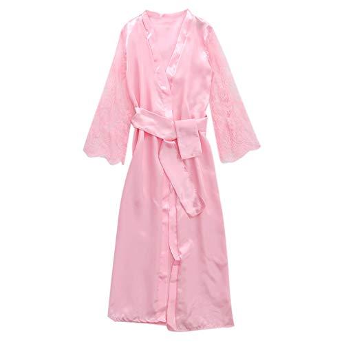 Pervobs Women Satin Pure Colour Long Sleeve Belt Long Nightdress Silk Lace Lingerie Nightgown Sleepwear Sexy Robe(L, Pink) by Pervobs Lingerie & Sleepwear (Image #3)