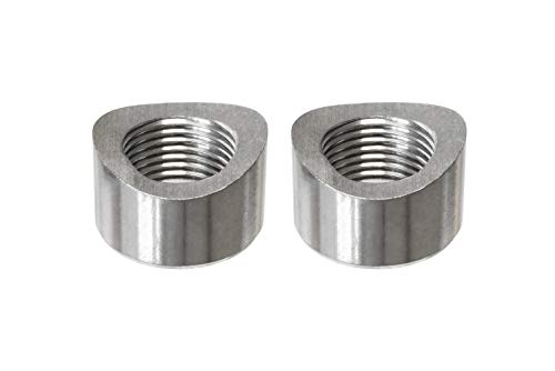 O2 Bung - PitVisit Exhaust Weld Bungs Stainless Steel for Standard Size Bosch Style Lambda Wideband Oxygen Sensors Universal Weld-On - Pack of 2 (Notched)