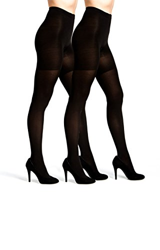 Womens Control Top Opaque Tights 2 Pack Black available in Regular and Plus size (M/L, 2 PK Black) by Emprella