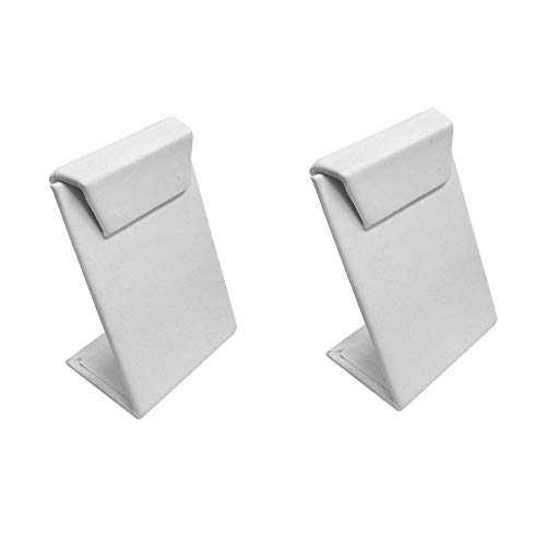 DBM IMPORTS 2 Pc Earrings Holder White Faux Leather Earrings Display Stand Jewelry Retail Stores 2-1/2''W x 3-1/2''H
