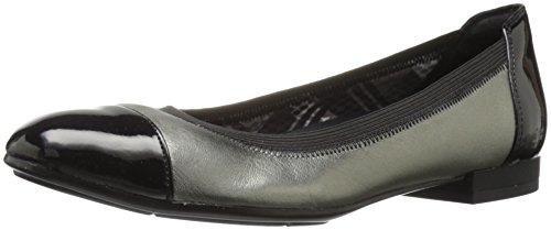Naturalizer Women's Therese Ballet Flat, Black, 9.5 W US Metallic