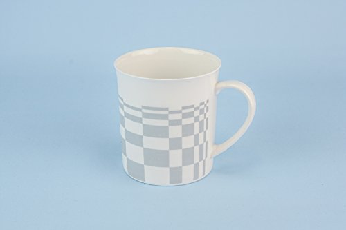 Vintage Elegant Cup Mug Chequered TEACUP Serving Modernist Small Bone China Grey Combine Gift English Late 20th Century LS