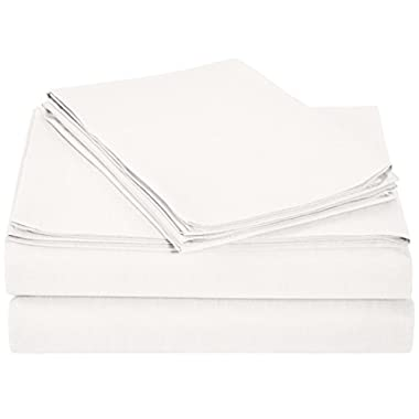 AmazonBasics Lightweight 200 Thread Count Sheet Set - Queen, White