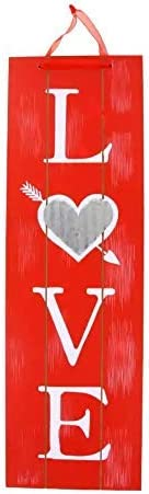 Valentine/'s Day Vertical Love Red Hanging Home Wall Decor MDF Sign