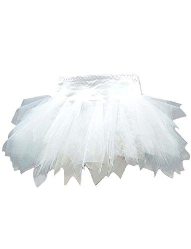 Yummy Bee Women's Plus Size Deluxe Layered TuTu Skirt 20 White