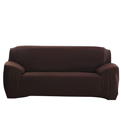 ELEOPTION Stretch Fabric Sofa Slipcover 1 2 3 4 Piece, Elastic Sectional Sofa Cover Slipcover Protector Couch Pure Color For Moving Furniture Living Room (Three seater(70''-90''), Dark Brown)