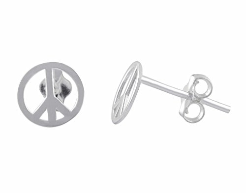 (Sterling Silver Peace Sign Stud Earrings - 8mm)