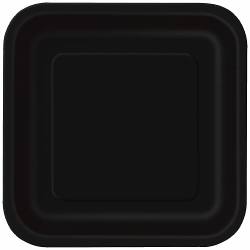 Square Black Paper Cake Plates, 16ct