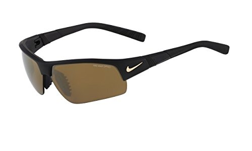 Nike Brown with Bronze Flash/Grey Lens Show X2 XL R Sunglasses, Matte Black