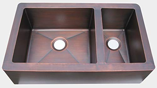 Copper Farmers Sinks for kitchen with Apron Front Offset 60/40 Handcrafted by Sinda Copper KOA341SM