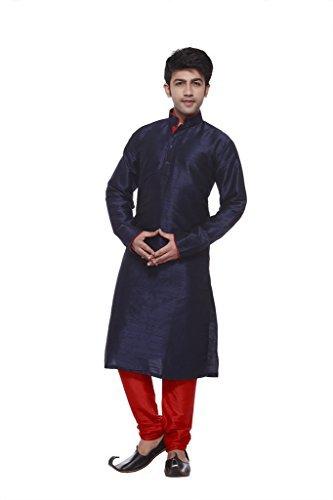 Larwa Solid Men's Ethnic Kurta Pyjama Set Navy Blue 42